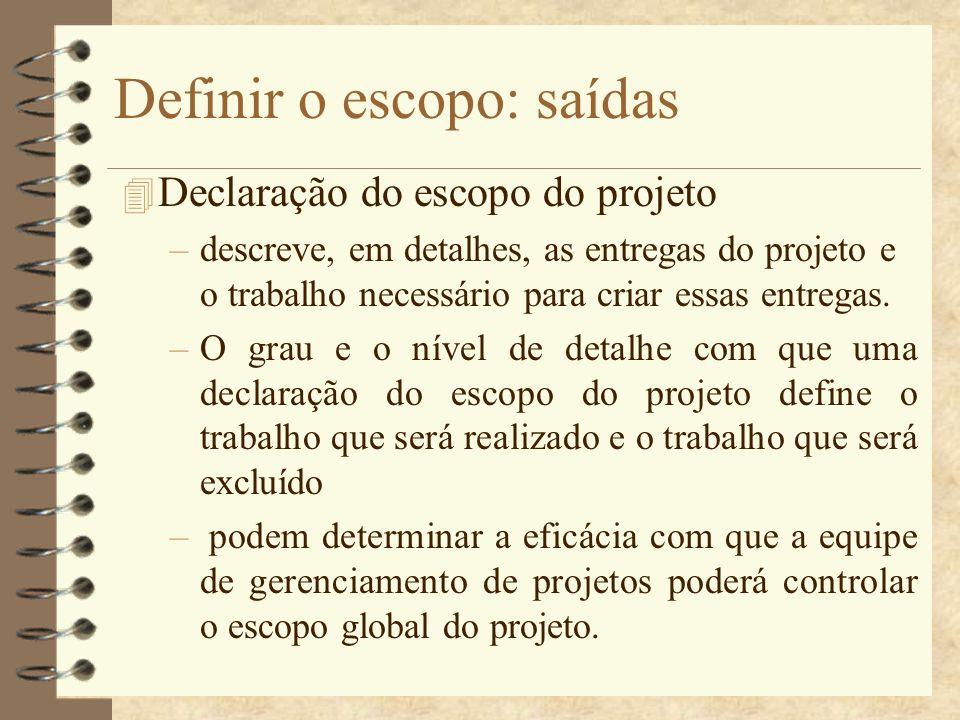 Definir o escopo: saídas 4 Declaração do escopo do projeto –descreve, em detalhes, as entregas do projeto e o trabalho necessário para criar essas ent