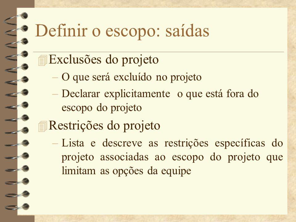 Definir o escopo: saídas 4 Exclusões do projeto –O que será excluído no projeto –Declarar explicitamente o que está fora do escopo do projeto 4 Restri