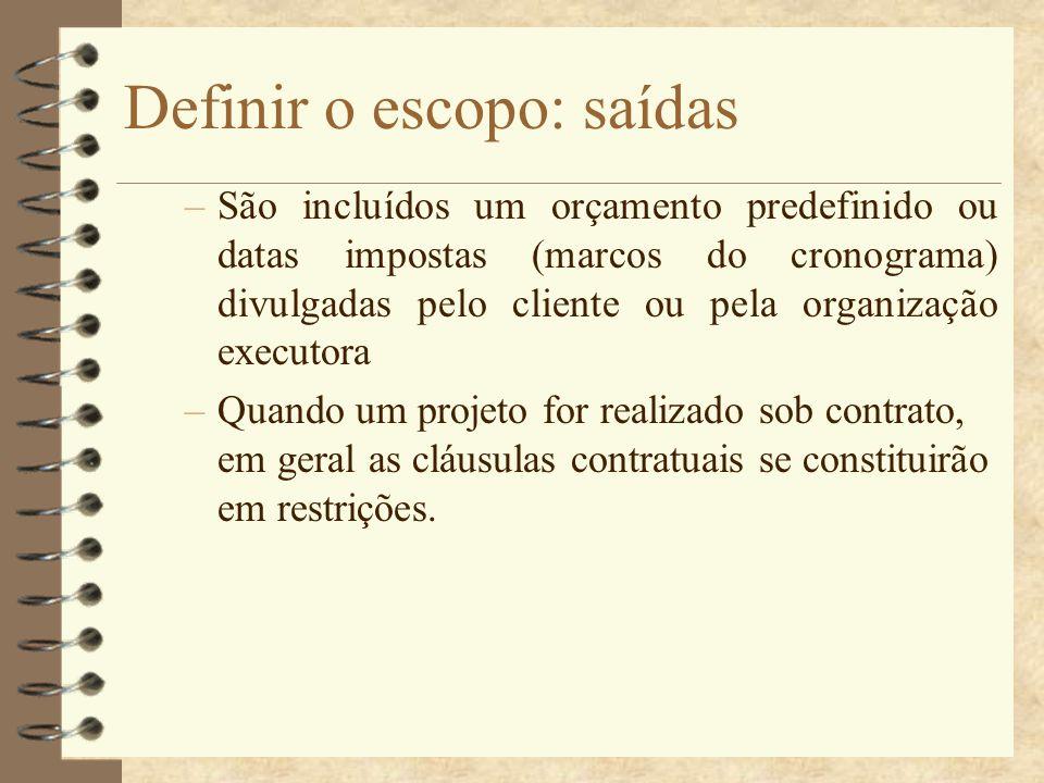 Definir o escopo: saídas –São incluídos um orçamento predefinido ou datas impostas (marcos do cronograma) divulgadas pelo cliente ou pela organização