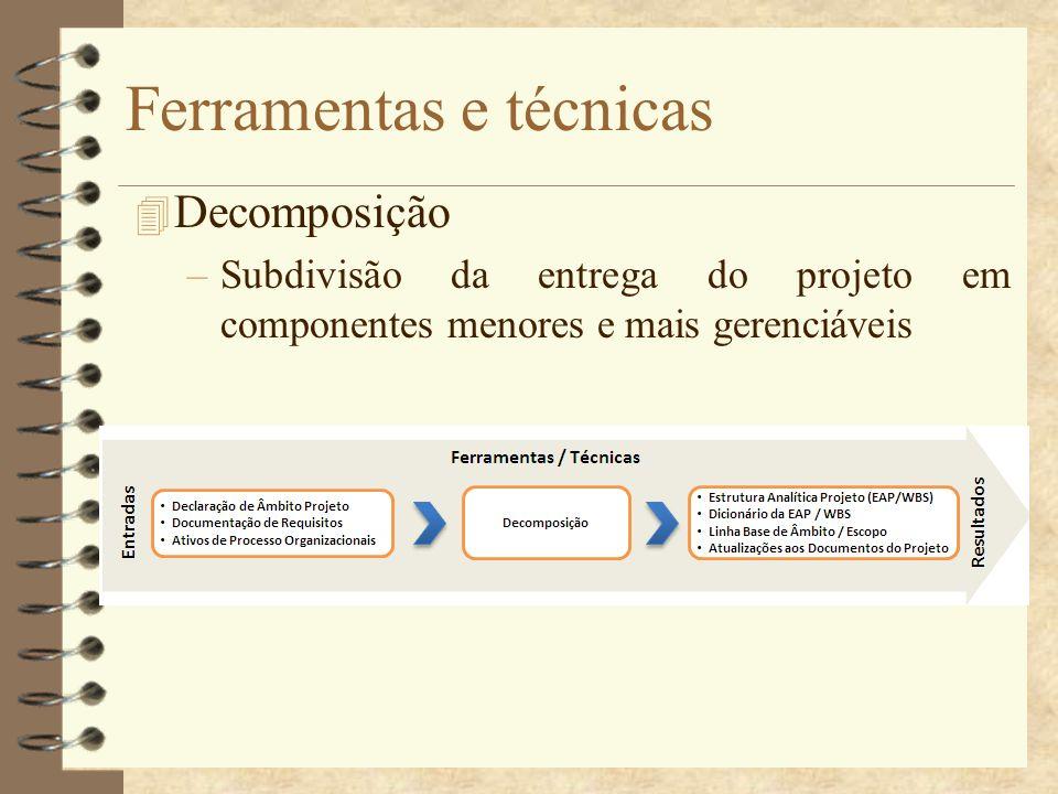 Ferramentas e técnicas 4 Decomposição –Subdivisão da entrega do projeto em componentes menores e mais gerenciáveis