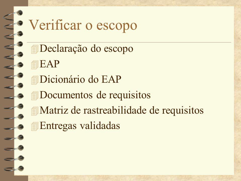 Verificar o escopo 4 Declaração do escopo 4 EAP 4 Dicionário do EAP 4 Documentos de requisitos 4 Matriz de rastreabilidade de requisitos 4 Entregas va