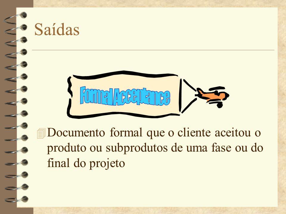 Saídas 4 Documento formal que o cliente aceitou o produto ou subprodutos de uma fase ou do final do projeto