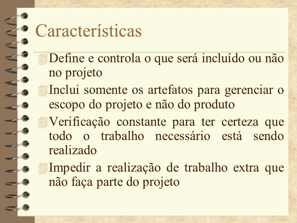 Características 4 Define e controla o que será incluído ou não no projeto 4 Inclui somente os artefatos para gerenciar o escopo do projeto e não do pr