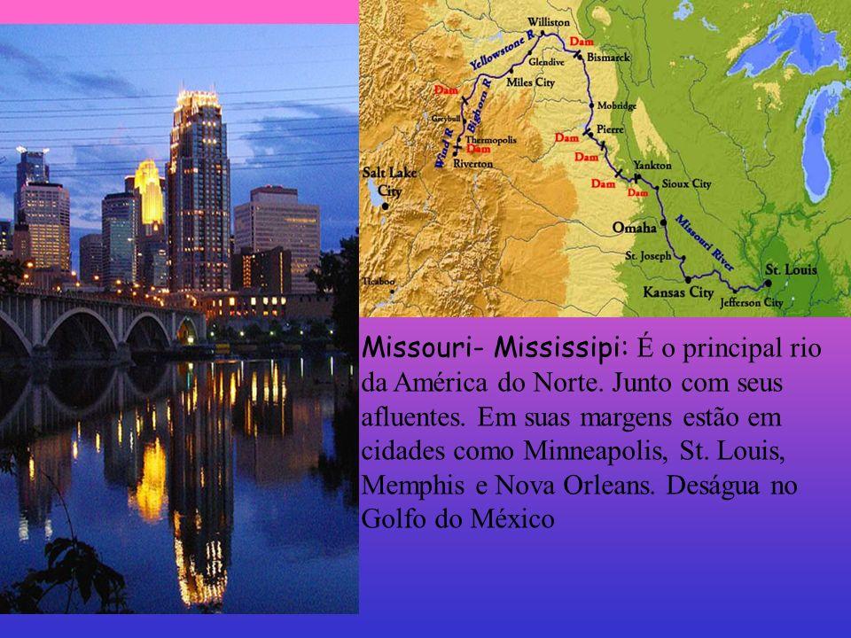 Missouri- Mississipi: É o principal rio da América do Norte. Junto com seus afluentes. Em suas margens estão em cidades como Minneapolis, St. Louis, M