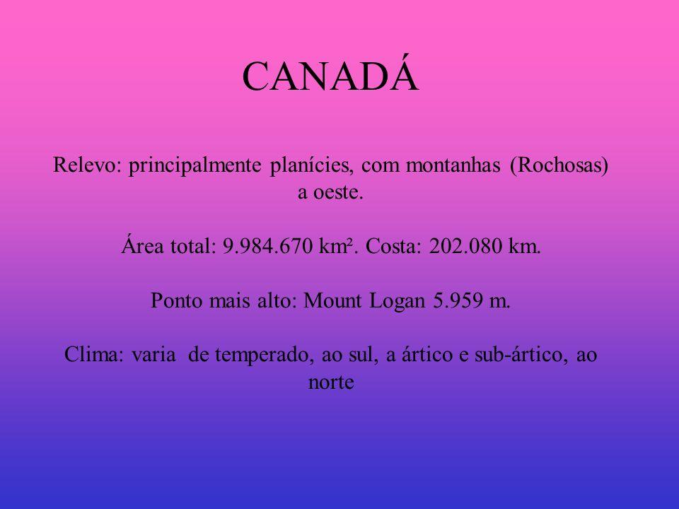 Países: CANADÁ Relevo: principalmente planícies, com montanhas (Rochosas) a oeste. Área total: 9.984.670 km². Costa: 202.080 km. Ponto mais alto: Moun