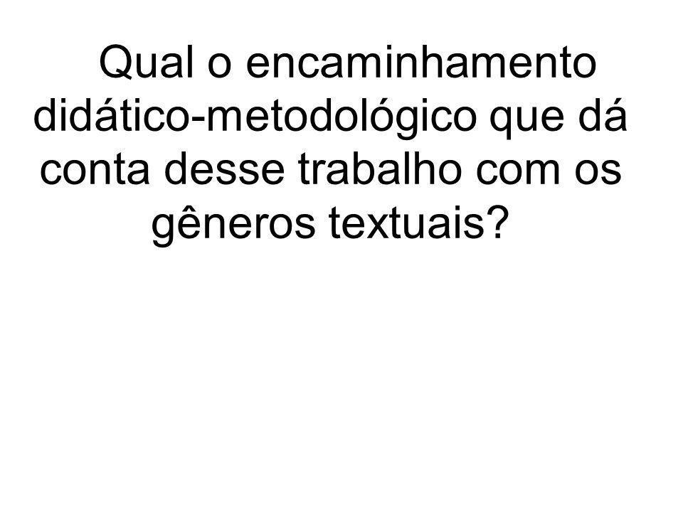 O encaminhamento didático- metodológico que dá conta desse trabalho com os gêneros textuais é o da Seqüência Didática (SD), proposta por Dolz, Noverraz e Schneuwly (2004).