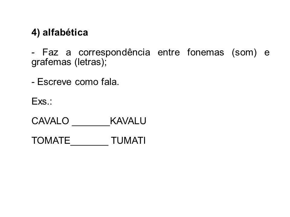 4) alfabética - Faz a correspondência entre fonemas (som) e grafemas (letras); - Escreve como fala. Exs.: CAVALO _______KAVALU TOMATE_______ TUMATI
