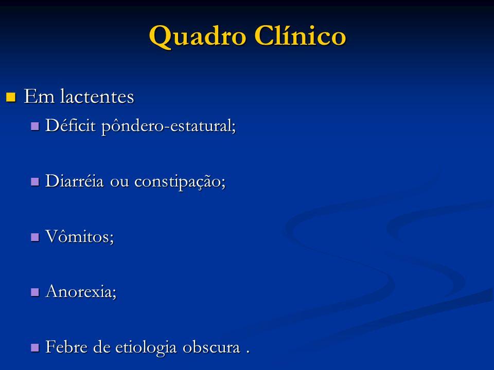 Quadro Clínico Em lactentes Em lactentes Déficit pôndero-estatural; Déficit pôndero-estatural; Diarréia ou constipação; Diarréia ou constipação; Vômit