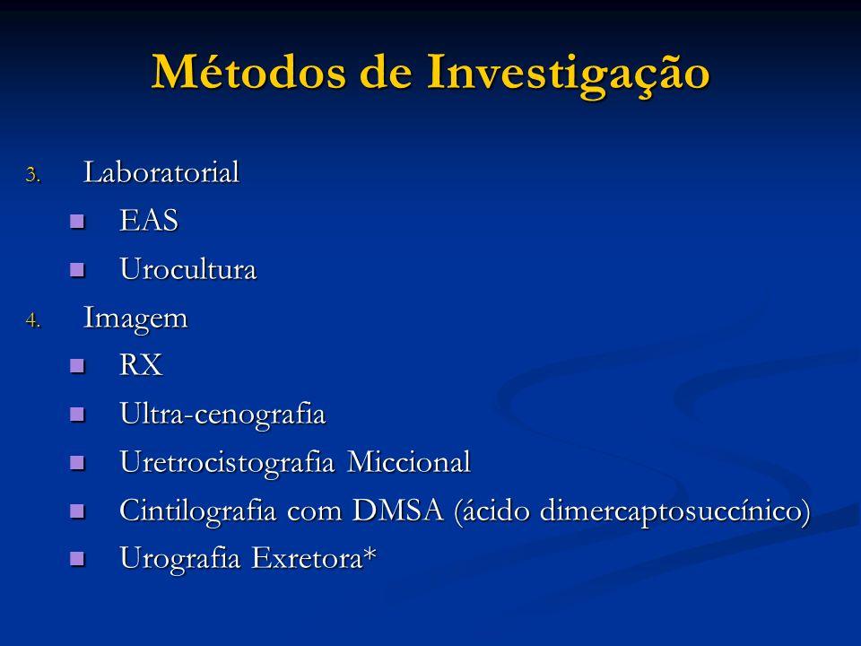 Métodos de Investigação 3. Laboratorial EAS EAS Urocultura Urocultura 4. Imagem RX RX Ultra-cenografia Ultra-cenografia Uretrocistografia Miccional Ur