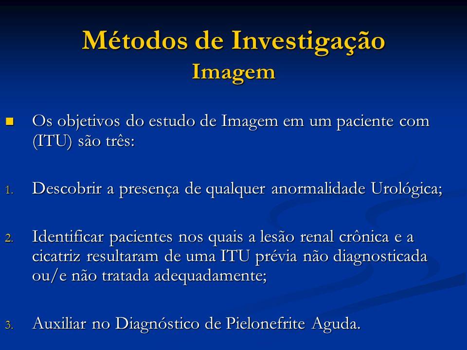 Métodos de Investigação Imagem Os objetivos do estudo de Imagem em um paciente com (ITU) são três: Os objetivos do estudo de Imagem em um paciente com
