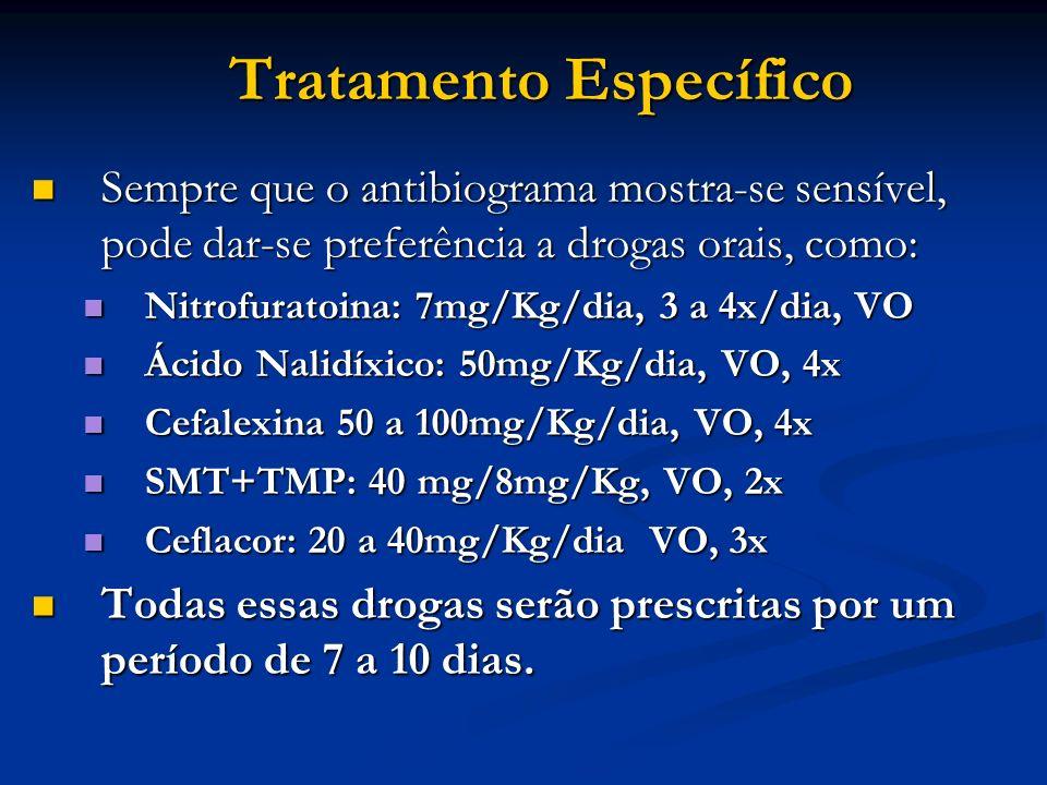 Tratamento Específico Sempre que o antibiograma mostra-se sensível, pode dar-se preferência a drogas orais, como: Sempre que o antibiograma mostra-se