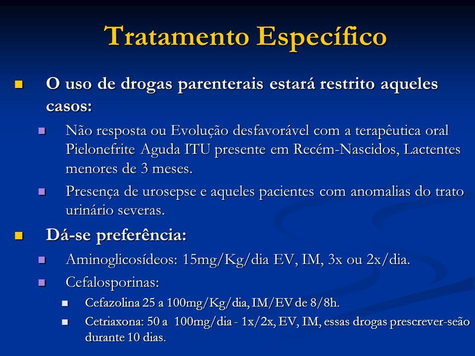 Tratamento Específico O uso de drogas parenterais estará restrito aqueles casos: O uso de drogas parenterais estará restrito aqueles casos: Não respos