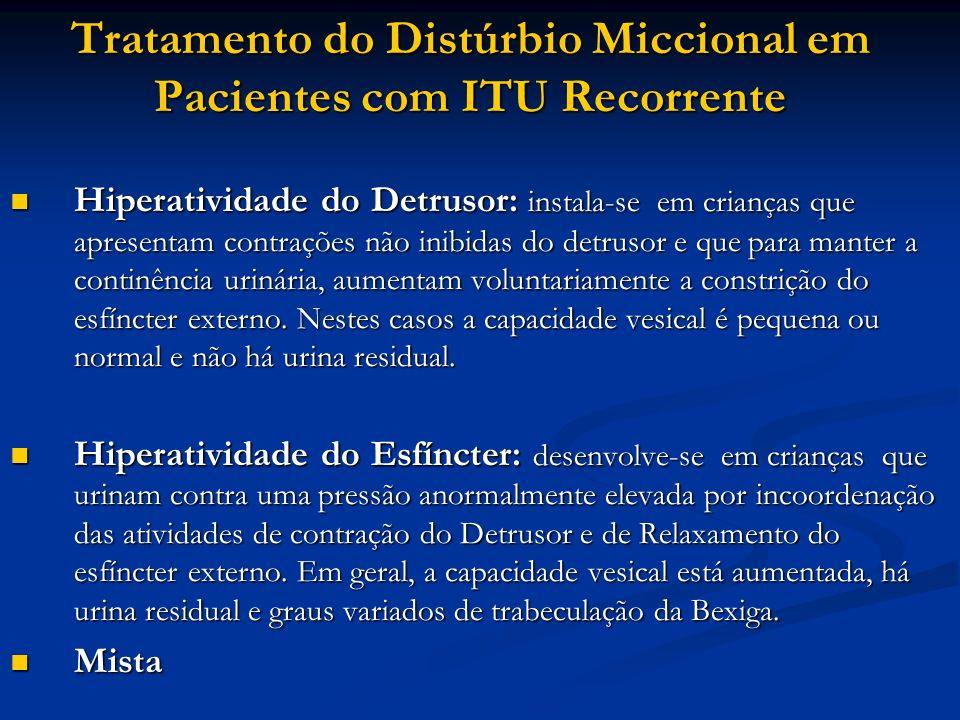 Tratamento do Distúrbio Miccional em Pacientes com ITU Recorrente Hiperatividade do Detrusor: instala-se em crianças que apresentam contrações não ini