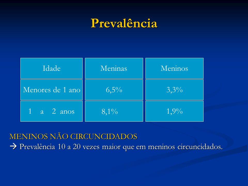 Prevalência IdadeMeninasMeninos Menores de 1 ano6,5%3,3% 1 a 2 anos8,1%1,9% MENINOS NÃO CIRCUNCIDADOS Prevalência 10 a 20 vezes maior que em meninos c