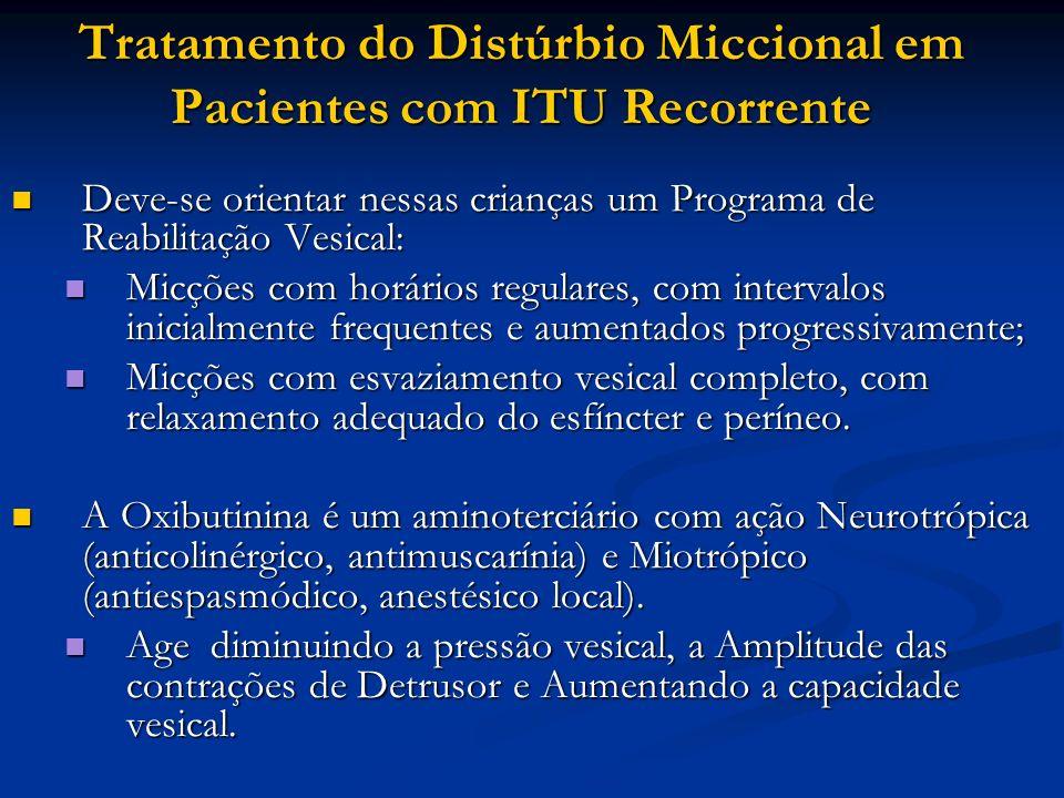 Tratamento do Distúrbio Miccional em Pacientes com ITU Recorrente Deve-se orientar nessas crianças um Programa de Reabilitação Vesical: Deve-se orient