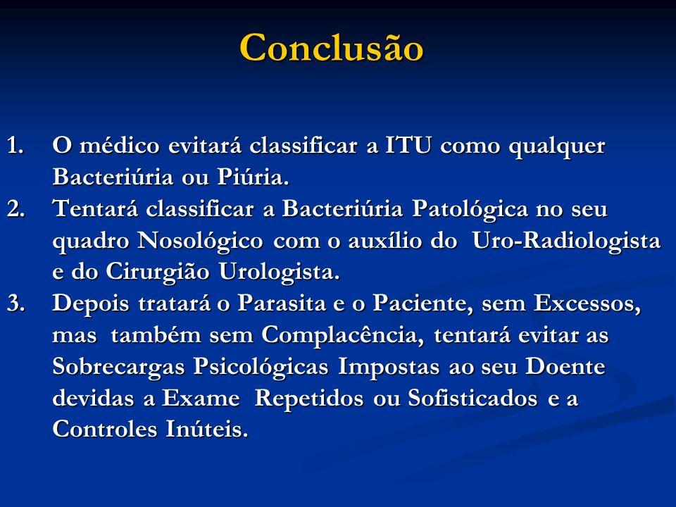 Conclusão 1.O médico evitará classificar a ITU como qualquer Bacteriúria ou Piúria. 2.Tentará classificar a Bacteriúria Patológica no seu quadro Nosol