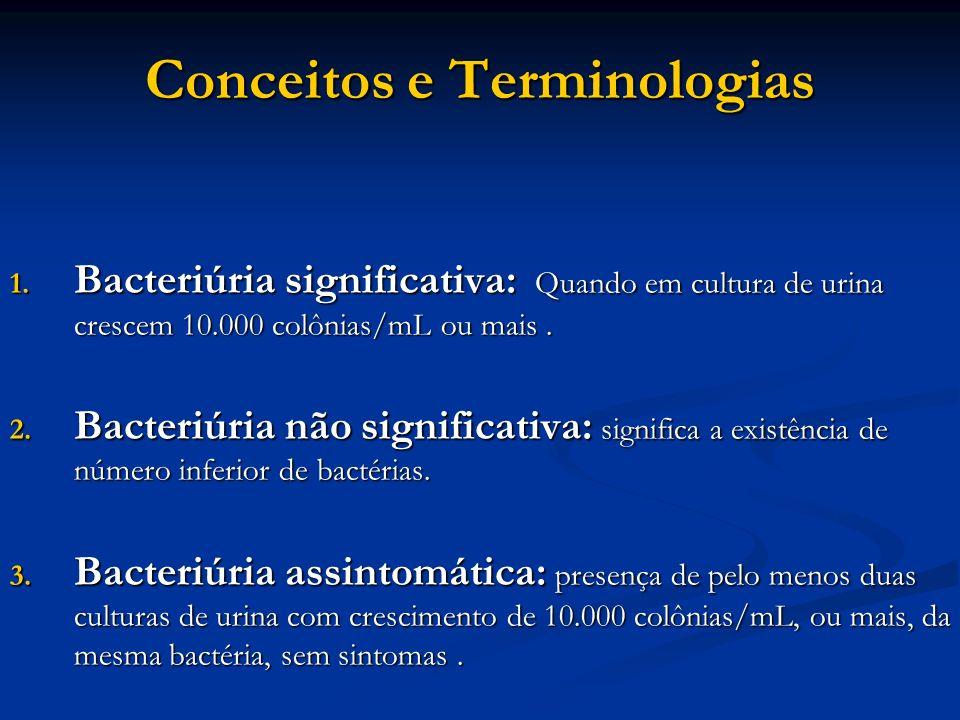 Conceitos e Terminologias 1. Bacteriúria significativa: Quando em cultura de urina crescem 10.000 colônias/mL ou mais. 2. Bacteriúria não significativ