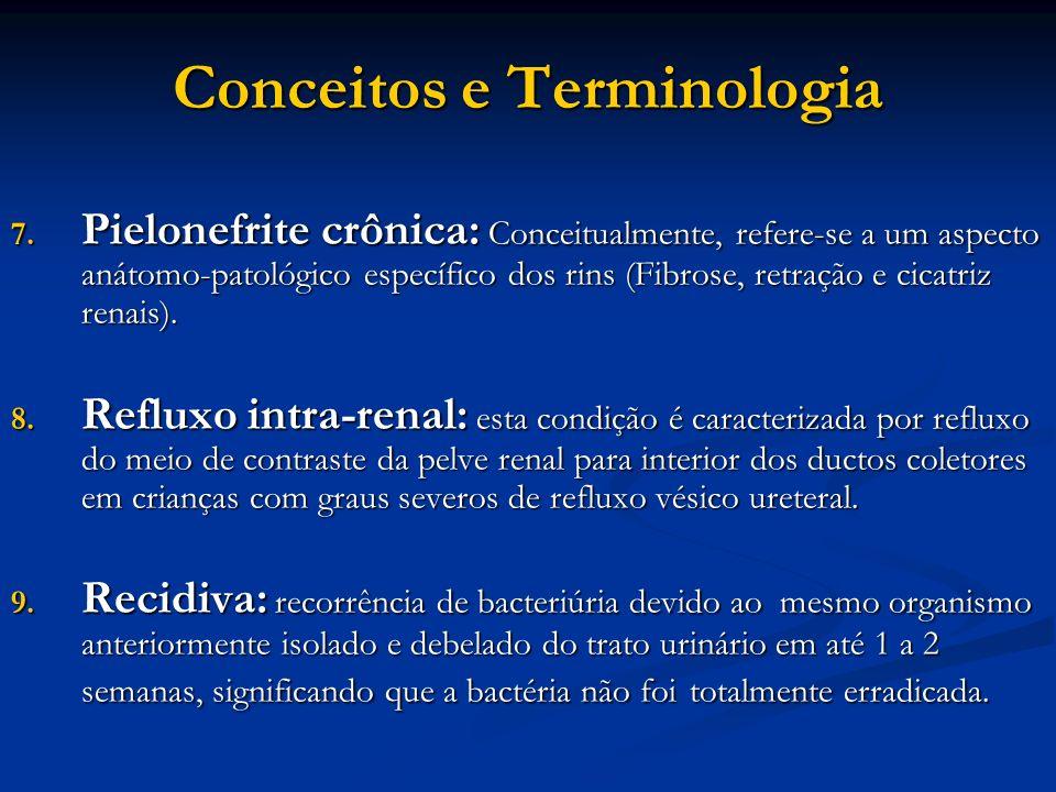 Conceitos e Terminologia 7. Pielonefrite crônica: Conceitualmente, refere-se a um aspecto anátomo-patológico específico dos rins (Fibrose, retração e