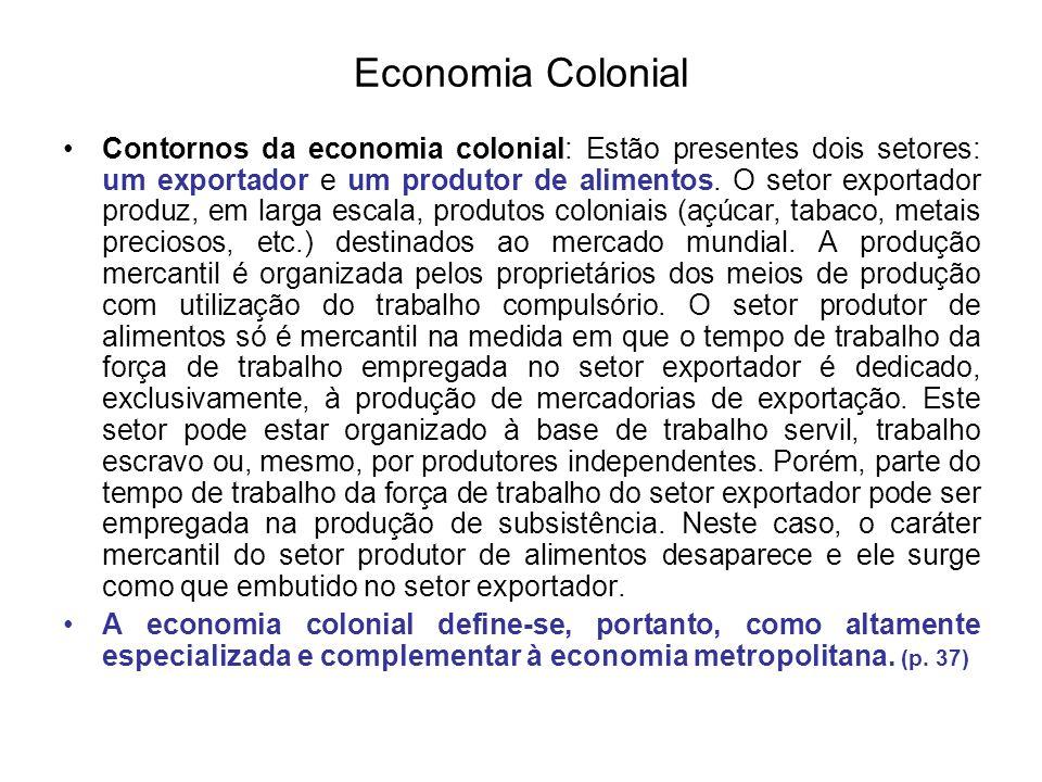 Economia Colonial Contornos da economia colonial: Estão presentes dois setores: um exportador e um produtor de alimentos. O setor exportador produz, e