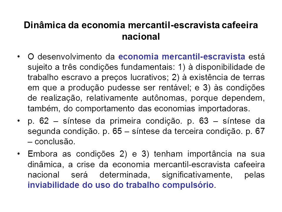 Dinâmica da economia mercantil-escravista cafeeira nacional O desenvolvimento da economia mercantil-escravista está sujeito a três condições fundament