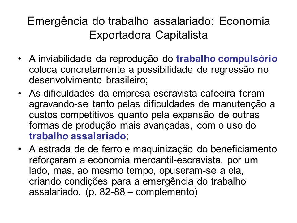 Emergência do trabalho assalariado: Economia Exportadora Capitalista A inviabilidade da reprodução do trabalho compulsório coloca concretamente a poss