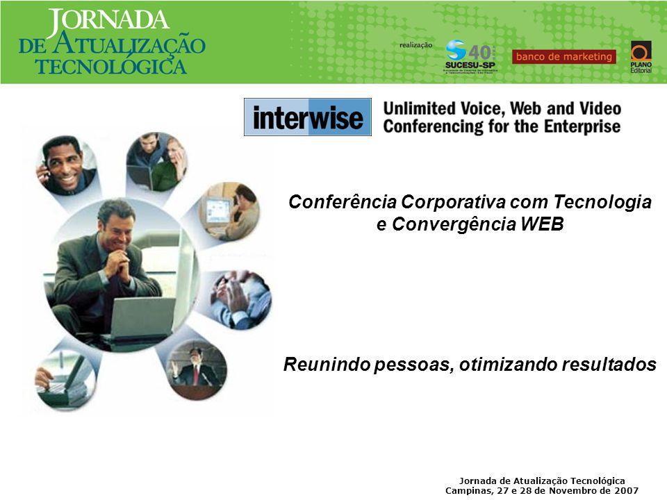 Jornada de Atualização Tecnológica Campinas, 27 e 28 de Novembro de 2007 Recursos e Módulos disponíveis Meetings Reuniões colaborativas até 100 participantes.