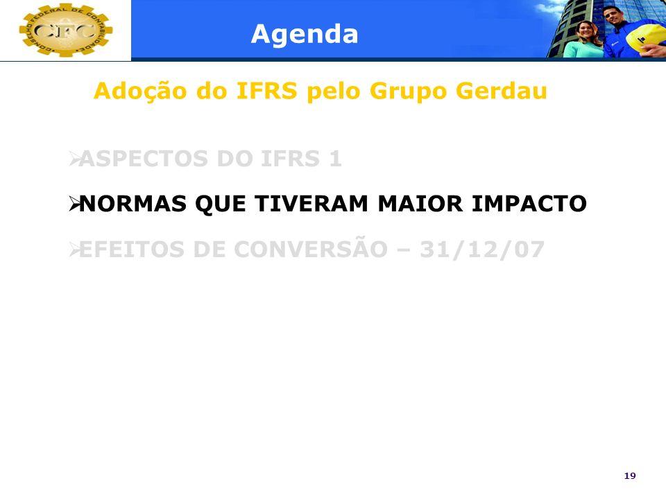 19 Agenda ASPECTOS DO IFRS 1 NORMAS QUE TIVERAM MAIOR IMPACTO EFEITOS DE CONVERSÃO – 31/12/07 Adoção do IFRS pelo Grupo Gerdau
