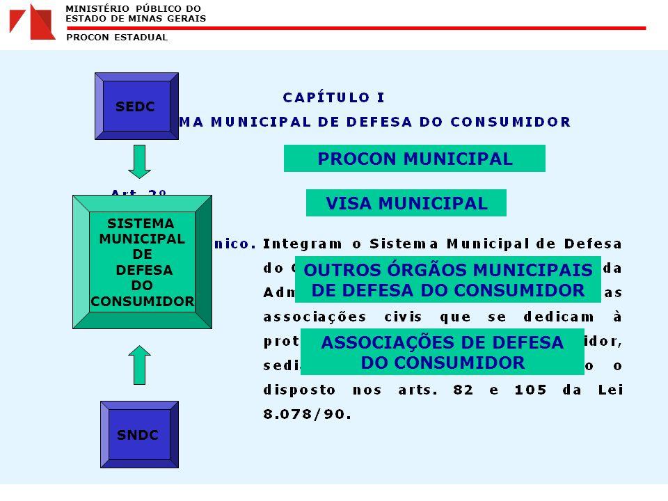 MINISTÉRIO PÚBLICO DO ESTADO DE MINAS GERAIS PROCON ESTADUAL SISTEMA MUNICIPAL DE DEFESA DO CONSUMIDOR SEDC SNDC PROCON MUNICIPAL VISA MUNICIPAL OUTROS ÓRGÃOS MUNICIPAIS DE DEFESA DO CONSUMIDOR ASSOCIAÇÕES DE DEFESA DO CONSUMIDOR