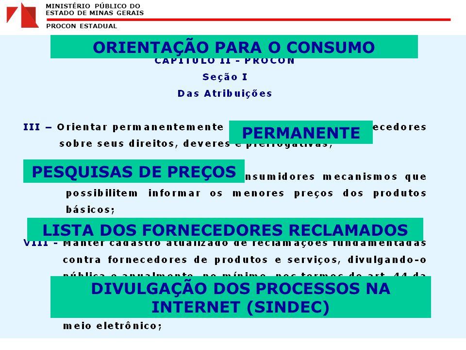 MINISTÉRIO PÚBLICO DO ESTADO DE MINAS GERAIS PROCON ESTADUAL ORIENTAÇÃO PARA O CONSUMO PERMANENTE PESQUISAS DE PREÇOS LISTA DOS FORNECEDORES RECLAMADOS DIVULGAÇÃO DOS PROCESSOS NA INTERNET (SINDEC)
