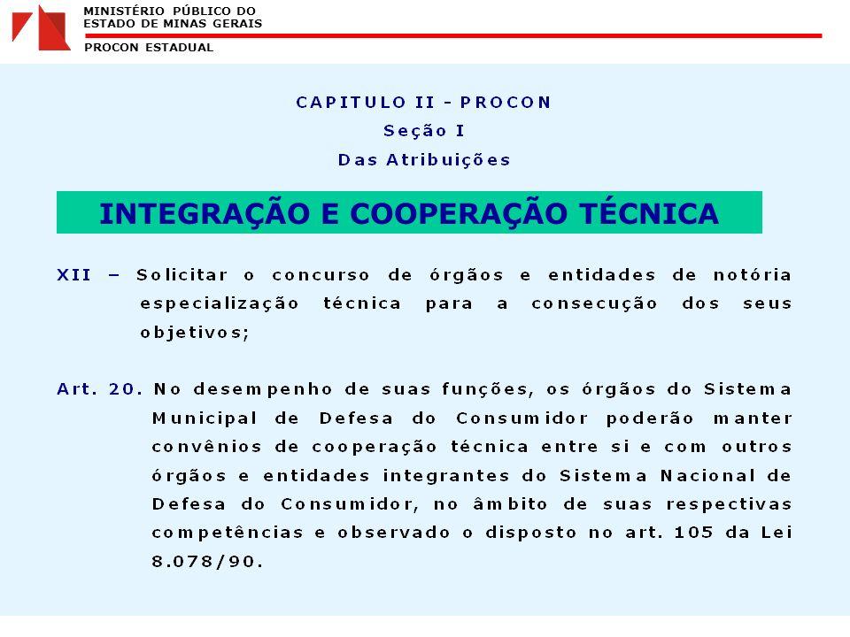MINISTÉRIO PÚBLICO DO ESTADO DE MINAS GERAIS PROCON ESTADUAL INTEGRAÇÃO E COOPERAÇÃO TÉCNICA