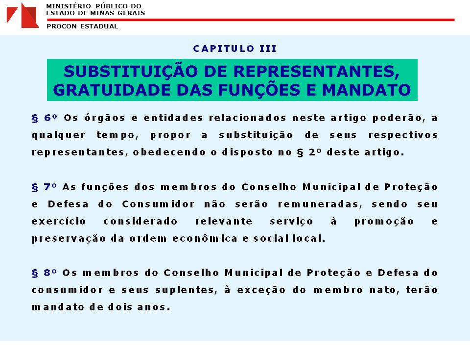 MINISTÉRIO PÚBLICO DO ESTADO DE MINAS GERAIS PROCON ESTADUAL SUBSTITUIÇÃO DE REPRESENTANTES, GRATUIDADE DAS FUNÇÕES E MANDATO