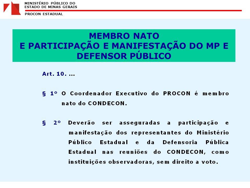 MINISTÉRIO PÚBLICO DO ESTADO DE MINAS GERAIS PROCON ESTADUAL MEMBRO NATO E PARTICIPAÇÃO E MANIFESTAÇÃO DO MP E DEFENSOR PÚBLICO