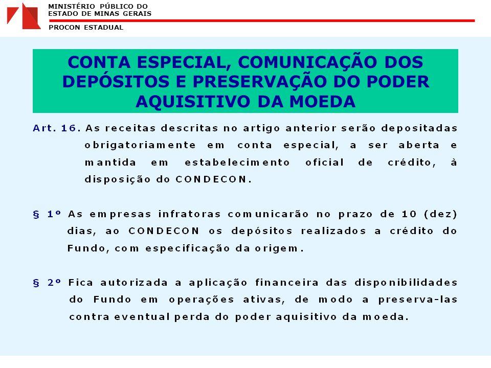 MINISTÉRIO PÚBLICO DO ESTADO DE MINAS GERAIS PROCON ESTADUAL CONTA ESPECIAL, COMUNICAÇÃO DOS DEPÓSITOS E PRESERVAÇÃO DO PODER AQUISITIVO DA MOEDA