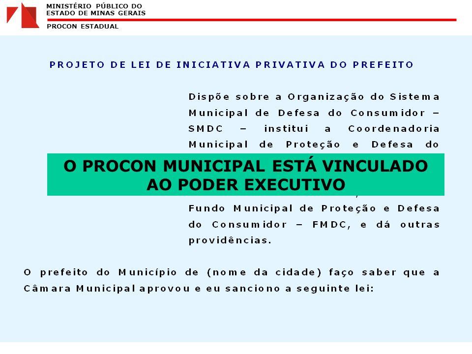 MINISTÉRIO PÚBLICO DO ESTADO DE MINAS GERAIS PROCON ESTADUAL O PROCON MUNICIPAL ESTÁ VINCULADO AO PODER EXECUTIVO