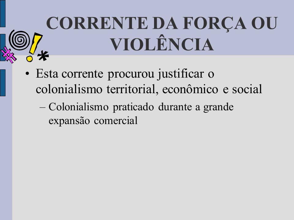 CORRENTE DA FORÇA OU VIOLÊNCIA Esta corrente procurou justificar o colonialismo territorial, econômico e social –Colonialismo praticado durante a gran