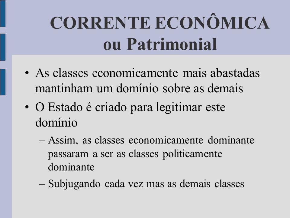 CORRENTE ECONÔMICA ou Patrimonial As classes economicamente mais abastadas mantinham um domínio sobre as demais O Estado é criado para legitimar este