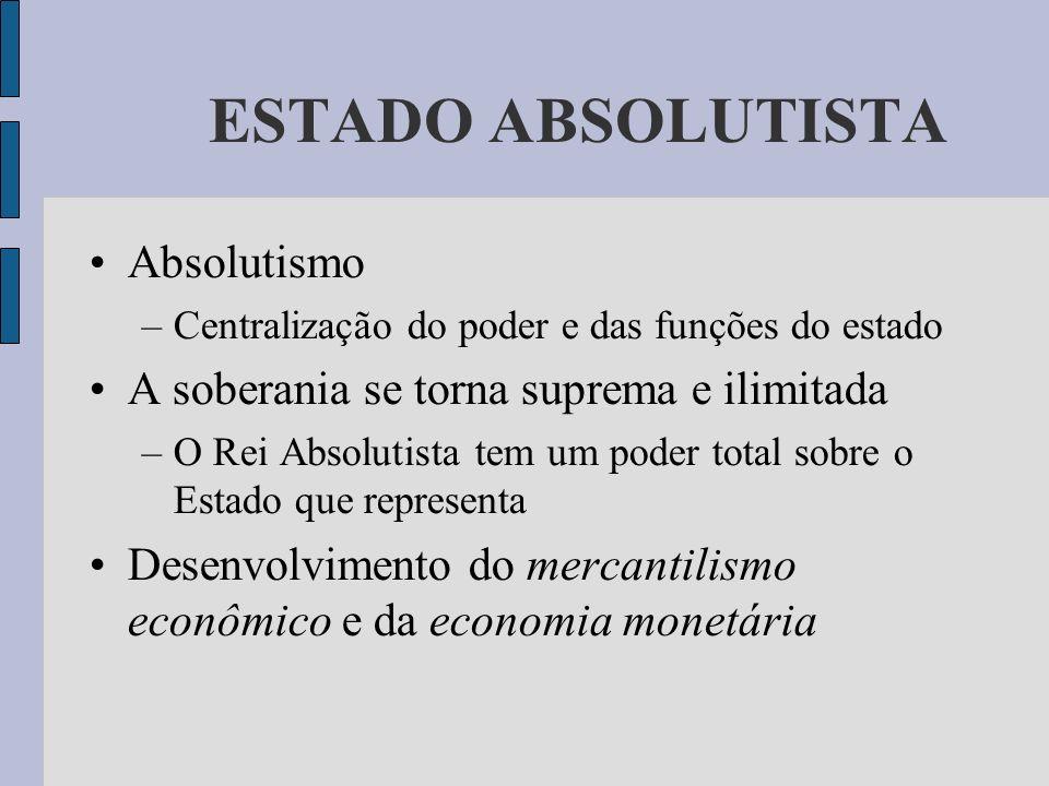 ESTADO ABSOLUTISTA Absolutismo –Centralização do poder e das funções do estado A soberania se torna suprema e ilimitada –O Rei Absolutista tem um pode