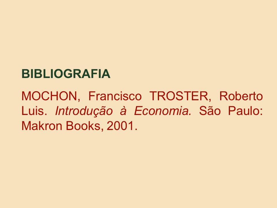 BIBLIOGRAFIA MOCHON, Francisco TROSTER, Roberto Luis. Introdução à Economia. São Paulo: Makron Books, 2001.