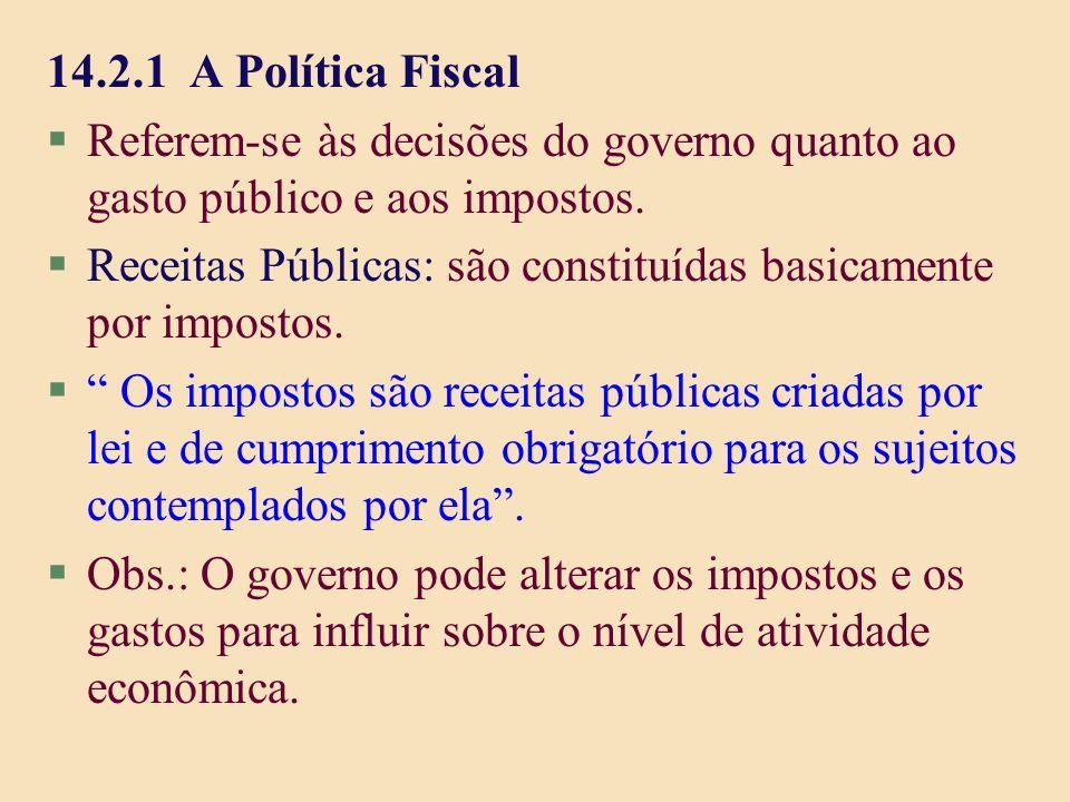 14.2.1 A Política Fiscal §Referem-se às decisões do governo quanto ao gasto público e aos impostos. §Receitas Públicas: são constituídas basicamente p