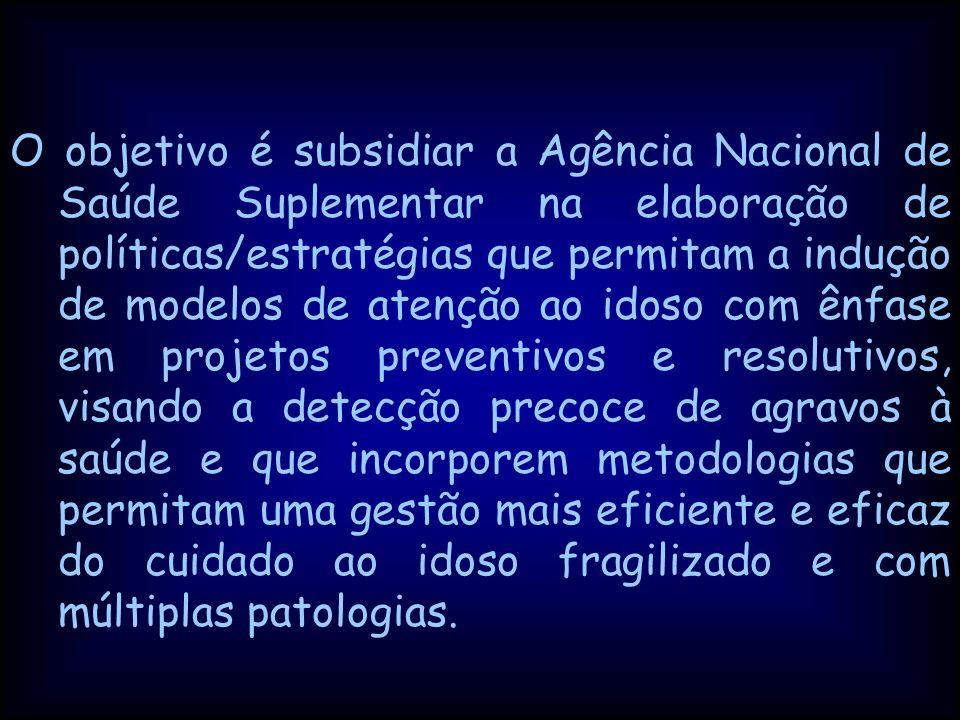 O objetivo é subsidiar a Agência Nacional de Saúde Suplementar na elaboração de políticas/estratégias que permitam a indução de modelos de atenção ao