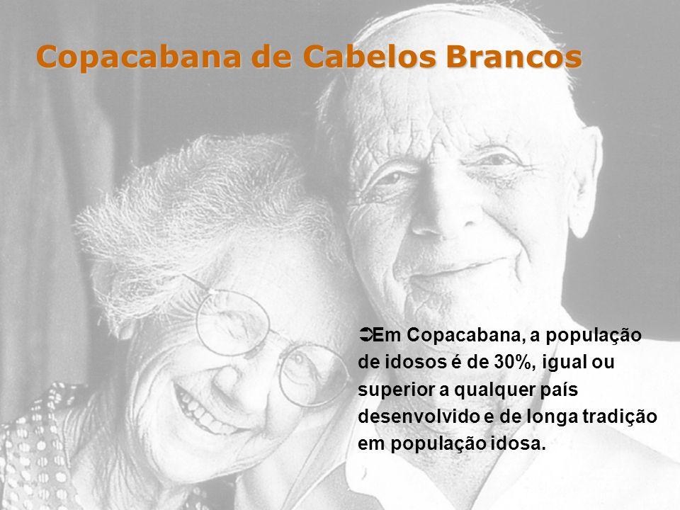 Copacabana de Cabelos Brancos Em Copacabana, a população de idosos é de 30%, igual ou superior a qualquer país desenvolvido e de longa tradição em pop