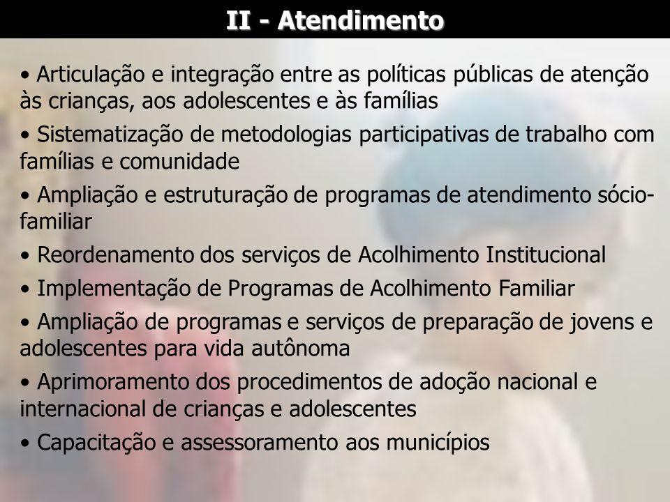 II - Atendimento Articulação e integração entre as políticas públicas de atenção às crianças, aos adolescentes e às famílias Sistematização de metodol