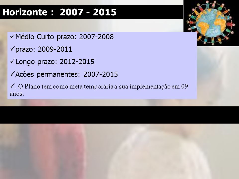 Horizonte : 2007 - 2015 Médio Curto prazo: 2007-2008 prazo: 2009-2011 Longo prazo: 2012-2015 Ações permanentes: 2007-2015. O Plano tem como meta tempo