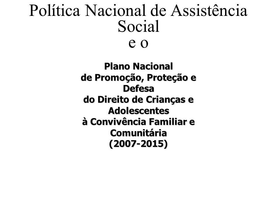 Política Nacional de Assistência Social e o Plano Nacional Política Nacional de Assistência c e Plano Nacional de Promoção, Proteção e Defesa do Direi