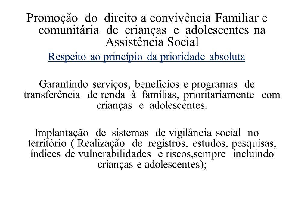 Promoção do direito a convivência Familiar e comunitária de crianças e adolescentes na Assistência Social Respeito ao princípio da prioridade absoluta