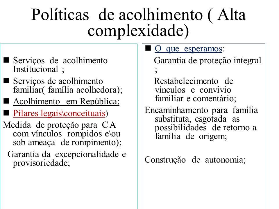 Políticas de acolhimento ( Alta complexidade) Serviços de acolhimento Institucional ; Serviços de acolhimento familiar( família acolhedora); Acolhimen