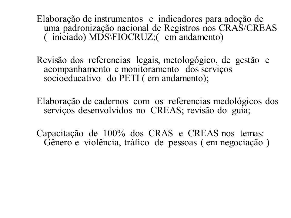 Elaboração de instrumentos e indicadores para adoção de uma padronização nacional de Registros nos CRAS/CREAS ( iniciado) MDS\FIOCRUZ;( em andamento)