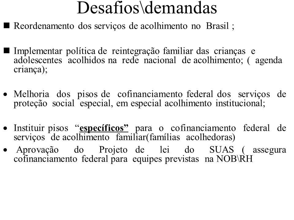 Desafios\demandas Reordenamento dos serviços de acolhimento no Brasil ; Implementar política de reintegração familiar das crianças e adolescentes acol