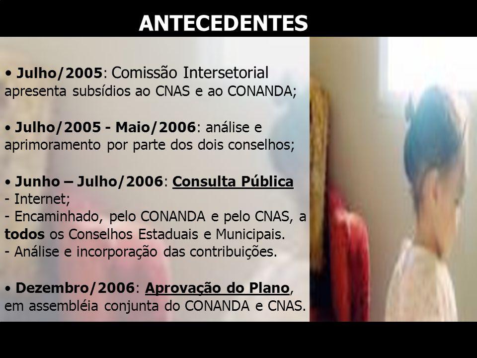 Julho/2005: Comissão Intersetorial apresenta subsídios ao CNAS e ao CONANDA; Julho/2005 - Maio/2006: análise e aprimoramento por parte dos dois consel