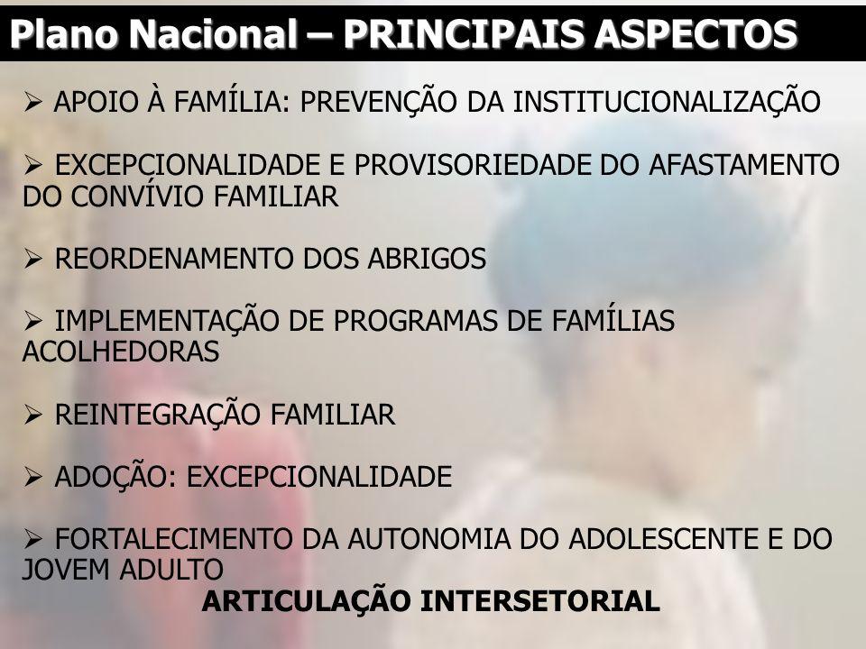 APOIO À FAMÍLIA: PREVENÇÃO DA INSTITUCIONALIZAÇÃO EXCEPCIONALIDADE E PROVISORIEDADE DO AFASTAMENTO DO CONVÍVIO FAMILIAR REORDENAMENTO DOS ABRIGOS IMPL